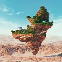 #paradise #cinema #4d #c4d #cinema4d #octane #render #octanerender #photoshop #daily #3d #gfx #graphics #graphic #design #abstract #art #surreal #canyon #landscape #desert #rock #world #balls #geometry #floating #realistic #jungle #rsa_graphics