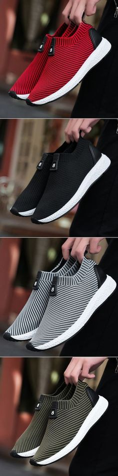 Men Knitted Strech Fabric Breathable Non-slip Slip On Casual Sneakers - http://sorihe.com/mensshoes/2018/02/12/men-knitted-strech-fabric-breathable-non-slip-slip-on-casual-sneakers-2/