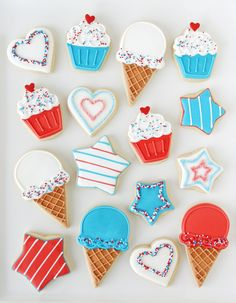 It's time to celebrate summer with picnics, parties and ice cream… or in this case ice cream cone cookies! I got a little crazy and made some three scoop ice cream cones, but this set of cookies is really more just an invitation to pull out some cookie cutters and play! For the 4th of July you can get away …