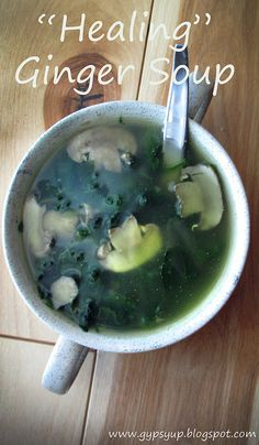 """another pinner said...Healing"""" Asian Ginger Soup.This is my go-to recipe any time I'm sick, my husband is sick or really, anyone I know is sick. Besides being an AMAZING sickness killer, this soup is low calorie (only 35 calories a CUP), filling and incredibly delicious. Samoa Cake, Upset Tummy, I'm Sick, 3 Cup Chicken, Spa Food, Raw Food Recipes, Great Recipes, Soup Recipes, Food Is Fuel"""