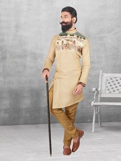 Silk beige festivewear kurta suit - G3-MKS0537   G3fashion.com