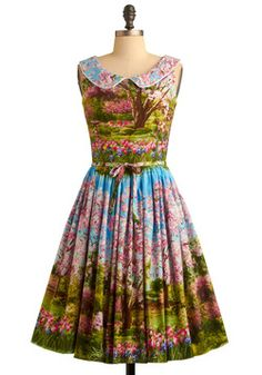 """Yes, do it, ode to Bob Ross Style.  Flaunt this dress and say """"Oh yes I did.""""  Put your bridesmaids in something cute and pink and get yourself some heels in the same color!  For a bouquet, I vote something rad and white!  Go Bob or go home.  Scene and Believed Dress, #ModCloth"""