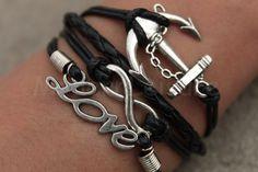 Black infinity anchor love charm Bracelets bangles infinity anchor charm infinity anchor Bracelet for women leather bracelets
