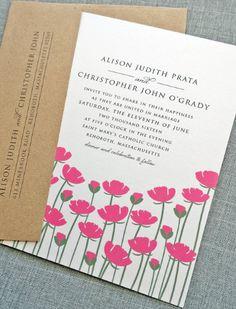 Pretty pink floral wedding invitation.