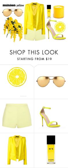 """""""Hello yellow!"""" by areutiana ❤ liked on Polyvore featuring Linda Farrow, T By Alexander Wang, Carvela Kurt Geiger, Alexandre Vauthier, Chanel, LAFCO and minionyellow"""