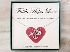 Faith Hope Love necklace Sterling silver heart by SilverStamped
