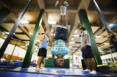 Wayne Eberson takes part in gymnastics at Camp Abilities in Brockport, New York, June 26, 2013.  REUTERS/Mark Blinch