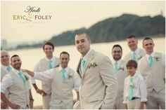tie for beige suit | Beige suit with turquoise ties. Love the suits, but ... | Wedding Ide ...