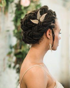 Gold Fern Hair Pins, Fern Hair Clips, Wedding Hair Pins, Gold Leaf Hair pins, Woodland Hair Accessor - Hairstyles For All Dreads, Dreadlock Hairstyles, Braided Hairstyles, Black Hairstyles, Prom Hairstyles, Vintage Hairstyles, Natural Hair Wedding, Wrap Around Braid, Wedding Hair Clips