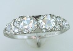 Vintage Antique Rare Double Diamond 1.45ct GIA Platinum Art Deco Engagement Ring