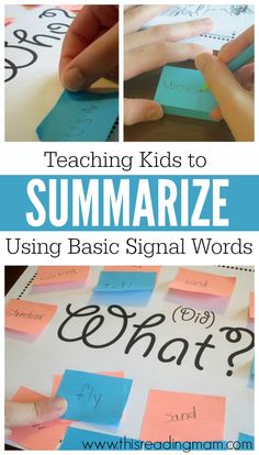 Teaching kids to summarize can be a tricky task! But using the basic signal words, kids can determine what's important to summarize text. {FREE printable} ordering sticky notes is great for creating summary sentences too Reading Lessons, Reading Activities, Reading Skills, Teaching Reading, Teaching Kids, Teaching Literature, Guided Reading, Learning, Teaching Phonics