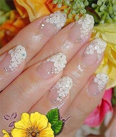 Flower french nail <3. Love this! But have the flowers painted on instead.