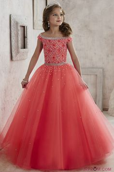 Floor Length Flower Girl Dresses Boat Neck With Beading Tulle Lace Up  Item Code:#JRPLG7S6L6