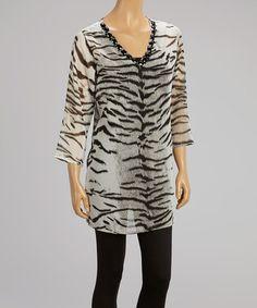 Another great find on #zulily! Black Zebra Embellished V-Neck Tunic #zulilyfinds