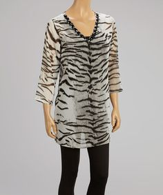 Another great find on #zulily! Black Zebra Embellished V-Neck Tunic #zulilyfinds