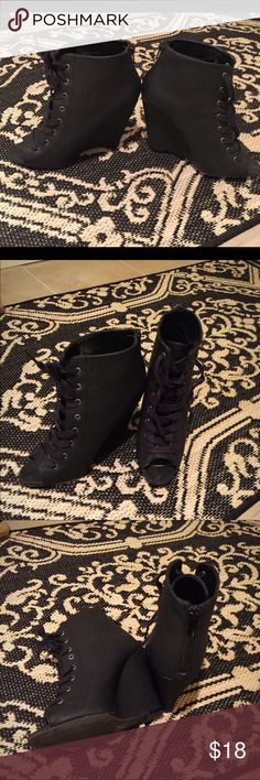 """Love Culture Wedge heels Size 7 love culture lace up wedge heels, about 4"""" heel Love Culture Shoes Lace Up Boots"""