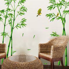 Alibaba グループ | AliExpress.comの ウォール ステッカー からの 2pcs Green Bamboo Forest Wall Sticker Decorative Self-adhesive Wall Decals DIY Home Decor Sticker for Living Room Decora 中の 2ピースグリーン竹林ウォールステッカー装飾的な自己接着壁飾りdiyホームデコレーションステッカー用リビングルーム装飾