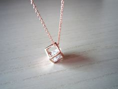 rose gold necklace- rose gold Square simple gold necklace- sweet necklace-perfect gift for you or friends
