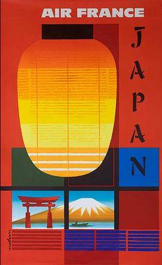 Vintage Air France poster for Japan #poster #airlines #Japan