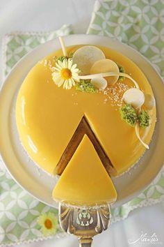 "Citrus Cake ""Yuzu"" – Pastry World Patisserie Design, Orange Mousse, Citrus Cake, Cupcake Cakes, Cupcakes, Mirror Glaze Cake, Fancy Desserts, Cake Decorating Techniques, Easy Cake Decorating"
