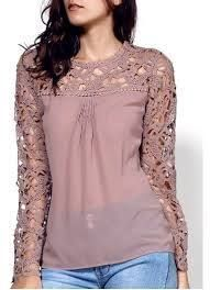 Shop For Stylish Scoop Neck Long Sleeve Lace Embroidery Spliced Women's Blouse KHAKI online on Dressfo.A site with wide selection of trendy fashion style women's clothing, especially swimwear in all kinds which costs at an affordable price. Blouse Styles, Blouse Designs, Trendy Fashion, Womens Fashion, Style Fashion, Casual Outfits, Fashion Outfits, Lace Embroidery, Embroidery Jewelry