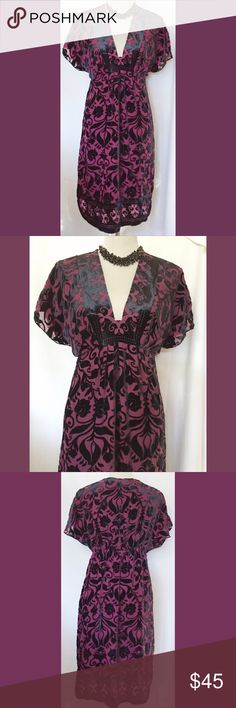Hale Bob berry, burnout velvet dress, sz M This dress is right on trend in a beautiful berry colored covered with a burnout, velvet layer. It is actually a maternity dress, but that just means there is a little extra pleating in the mid-section. So no fit worries. It works if you are not pregnant,  pregnant or after birth too. So cute for fall with some boots and a jean jacket. Oh, and a black choker, just an idea. Hale Bob Dresses
