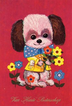 Items similar to Vintage Postcard Seventies dog puppy on Etsy Vintage Illustration, Illustration Sketches, Illustrations, Vintage Cards, Vintage Postcards, Big Eyes, Cute Cards, Vintage Children, Dogs And Puppies