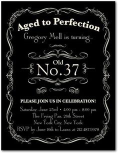 Adult Birthday Party Invitations Postcard Aged to Perfection - Front : Black