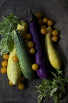 YELLOW SQUASH, ZUCCHINI, EGGPLANT, BABY YELLOW TOMATOES & GREENS...
