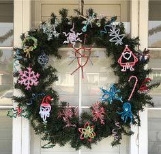 Handmade chenille and glitter ornaments (Rhonda Wong's Xmas crafting party 2015).