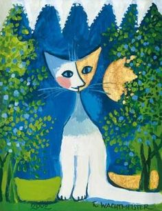 """Rosina Wachtmeister, German artist, """"Looking out the window"""", poster Art And Illustration, Illustrations, Z Arts, Cat Colors, Cat Drawing, Cat Art, Art Pictures, Watercolor Art, Folk Art"""