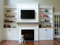 "Living Room Built-Ins ""tutorial"" Ana White: I really like to wood backing. Home Design, Design Studio, Küchen Design, Design Ideas, Living Room Built In Cabinets, Living Room Built Ins, Alcove Cabinets, Built In Around Fireplace, Fireplace Built Ins"