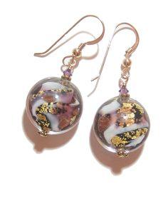 Murano Glass Amethyst Black Disc Gold Earrings, Venetian Jewelry, Italian Glass Jewelry