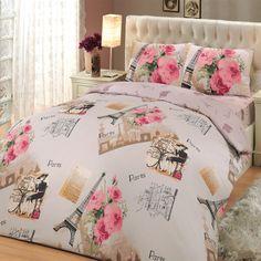 bepoe - 100% Cotton 4pcs Paris Soft Pink Full Double Size Duvet  Quilt Cover Set Eiffel Theme