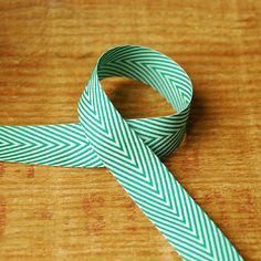 Love this for gift holiday wrapping! //  Spearmint Green and White Chevron Ribbon 1 yard Vintage-Style by vint, $0.50