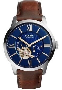 Shop for Fossil Men's Townsman Automatic Blue Dial Brown Leather Watch. Get free delivery On EVERYTHING* Overstock - Your Online Watches Store! Fossil Watches For Men, Swiss Army Watches, Cool Watches, Men's Watches, Male Watches, Wrist Watches, Luxury Watches, Fossil Leather Watch, Brown Leather Strap Watch