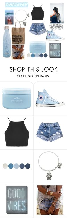 """""""BLUE"""" by jjcdomino ❤ liked on Polyvore featuring Floss Gloss, Aveda, Converse, Topshop, NYX, Alex and Ani, West Elm, Flash Tattoos and S'well"""