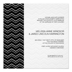 Bold Chevron Black and White Modern Affordable Personalized Invites