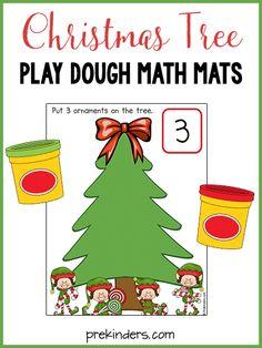 Christmas Math Play Dough Mats @PreKinders.com