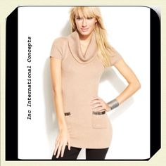 "INC International Concepts Tan Knit Studded Tunic Perfect tunic to throw on over leggings, tan knit rayon blend, cowl neck, short sleeves, studded front pockets..Bust layer flat : 31"", lots of stretch... INC International Concepts Sweaters Cowl & Turtlenecks"