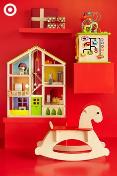 Hape Toys make the perfect Christmas gift for little boys and girls. Each toy is creatively designed, eco-friendly and encourages imaginative play and creativity. This sweet rocking horse, play cube and house are sure to become a favorite for years to come.