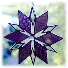 Triangle Star Suncatcher Stained Glass Purple Dichroic