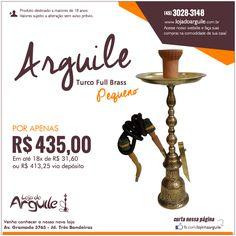 Arguile Turco Full Brass (pequeno) POR APENAS R$ 435,00 Em até 18x de R$ 31,60 ou R$ 413,25 via depósito  Compre Online: http://www.lojadoarguile.com.br/arguile-turco-full-brass-pequeno