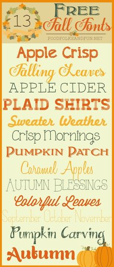 13 FREE Fall Fonts from Food, Folks & Fun ~~ {13 free fonts w/ easy download links}