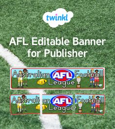 AFL Editable Banner for Publisher Australian Football League, Microsoft Publisher, A4, Texts, Banner, Note, Display, Prints, Banner Stands