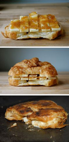 Croissant-Grilled Cheese with Pepper Jack and Apple Butter.