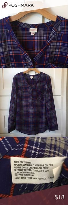 Plaid Summer Shirt. LIKE NEW! This sheer shirt is so lightweight and comfortable it's the perfect addition to your summer wardrobe! Tops Blouses