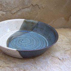 Rutile Blue and White Handmade Stoneware Ceramic Pottery Pie Plate