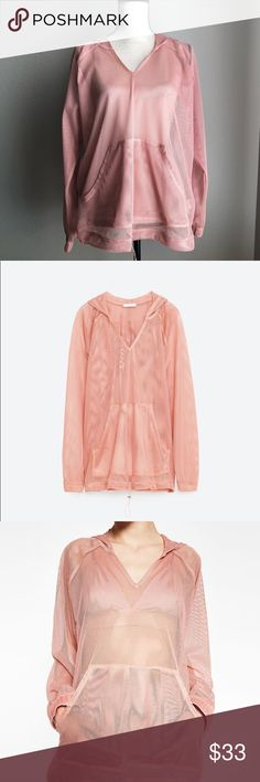 ZARA Mesh Hooded Sweatshirt in Medium - NWOT Size Medium Pink NWOT  Oversized and Relaxed Fit with Adjustable Band (See Picture 5) Zara Jackets & Coats