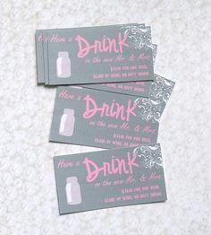 LOVE these drink tickets! Etsy listing at http://www.etsy.com/listing/152072303/drink-or-beverage-ticket-wedding